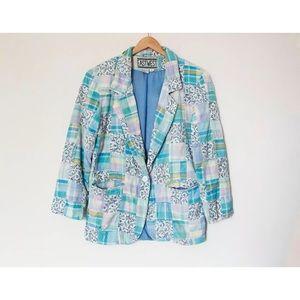 East West | Vintage 80's Plaid Floral Blazer